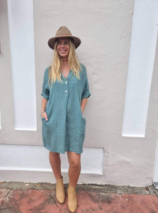 Frederic loose linen shirt dress in Seafoam