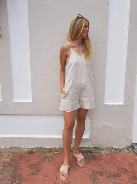 Audrey cami playsuit in Natural