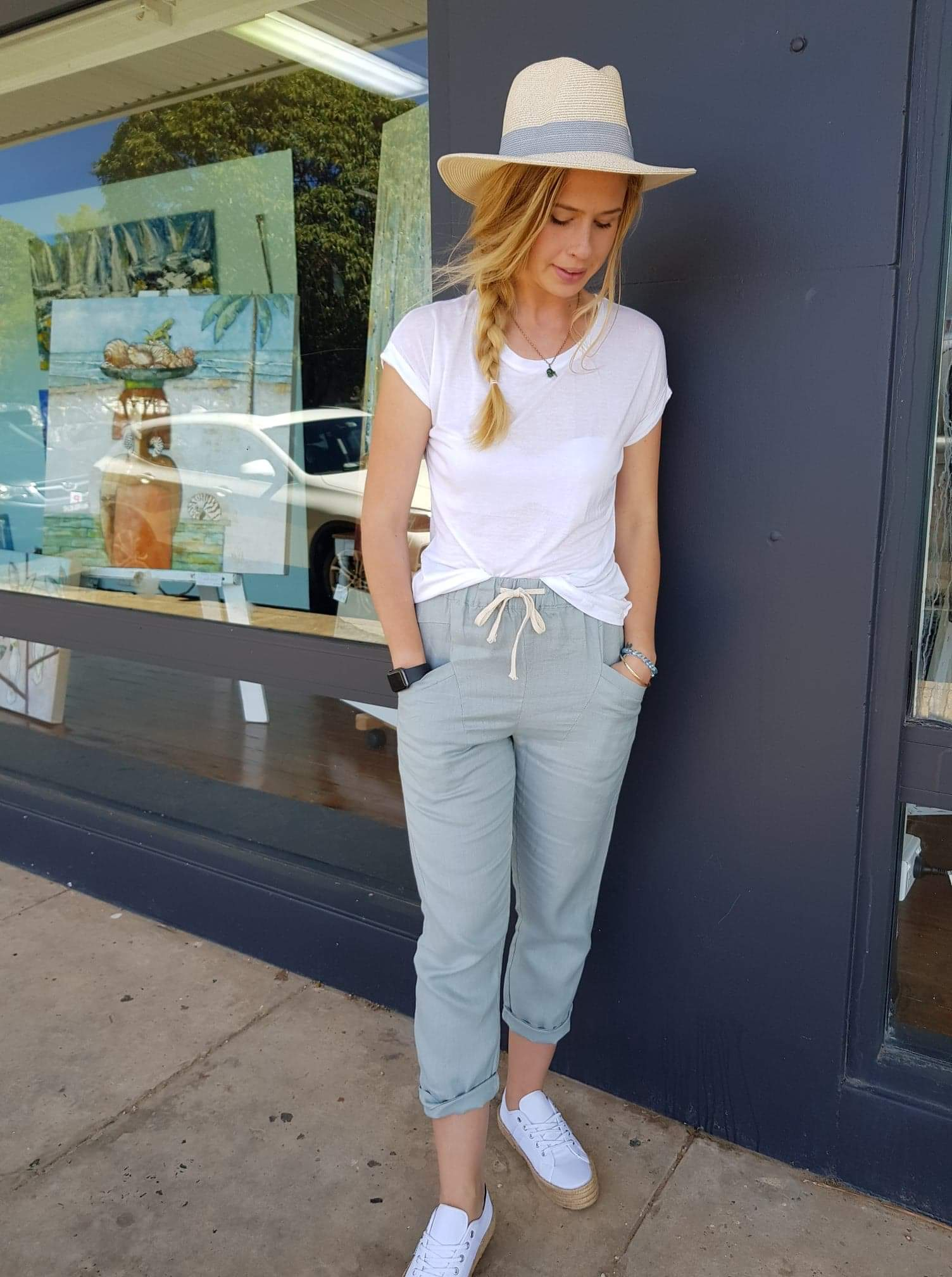 Linen luxe Sage pant