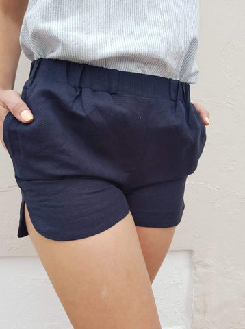Little lies navy linen shorts