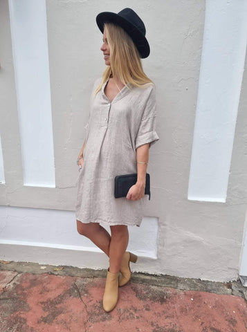 Frederic loose linen shirt dress in Natural
