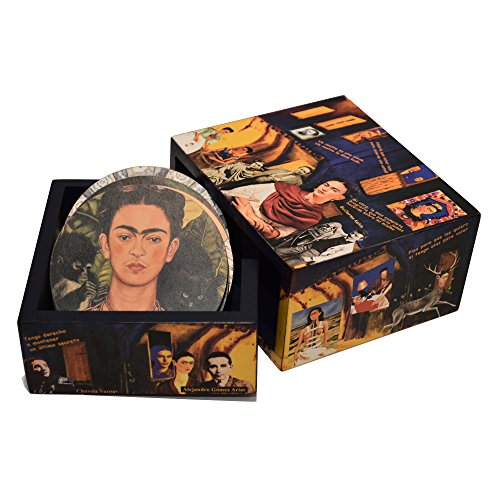 Box with 6 Wooden Cup Holder, Hand Made, Tribute to Frida Khalo