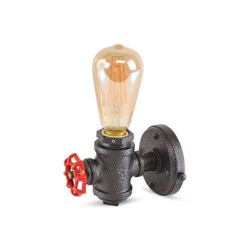 Vintage pipe wall lamp with Industrial Red Valve