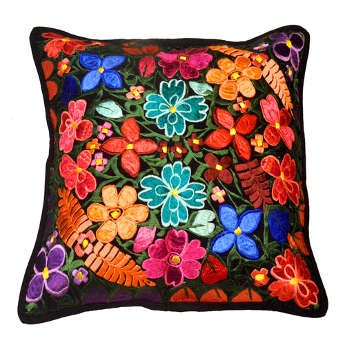 Embroidered floral pattern cushion cover 46x46cm