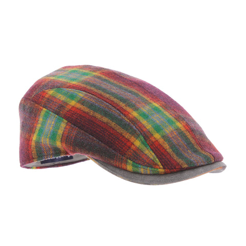 Herman bordeauxrode tartan platte pet Barbeau