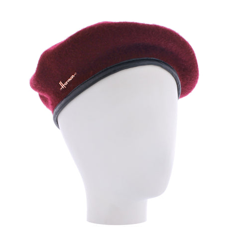Plain red wool beret Herman beret 002