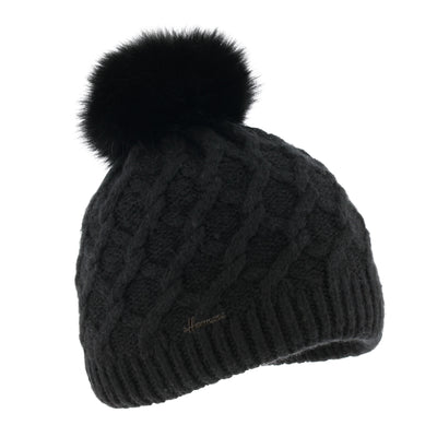 LOUISE 017 Plain twisted adult hat with faux fur pompom