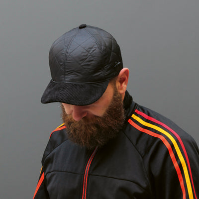 Dje Herman black plain quilted baseball cap with velvet visor