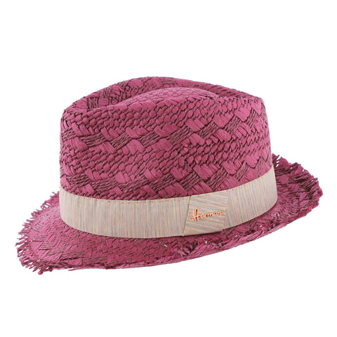 chapeau paille rose femme Don Drago Herman