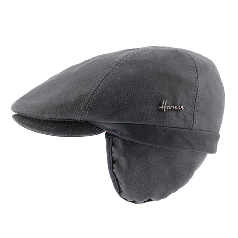 Leather flat cap with ear cap