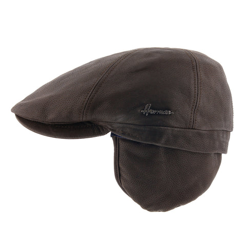 Herman brown leather flat cap with ear flaps Duke six-s