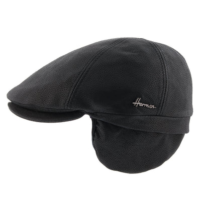 Flat black leather cap with ears cache Duke 6-s Herman