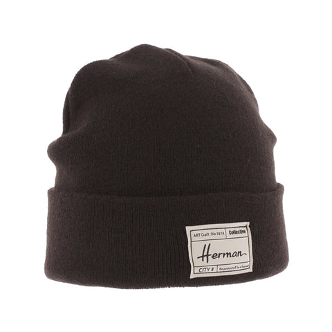 Bonnet uni marron avec patch doublé plush Edmond 051 Herman