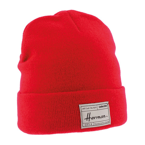Bonnet uni rouge avec patch doublé plush Edmond 051 Herman