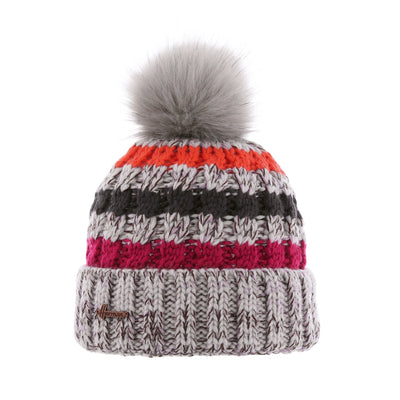 Justin 8295 Herman gray striped children's hat with faux fur pompom