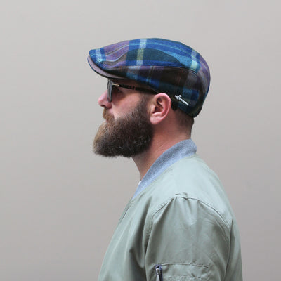 RUTFORD / flat cap with tartan pattern