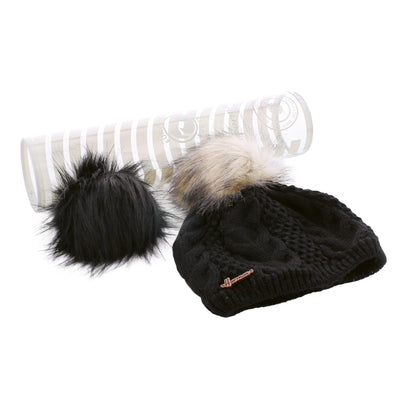 MAGGY 8604 ND Plain twisted adult hat with 2 interchangeable pompoms