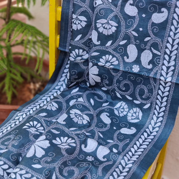 Slate Grey Kantha Hand Embroidered Tussar Silk Dupatta