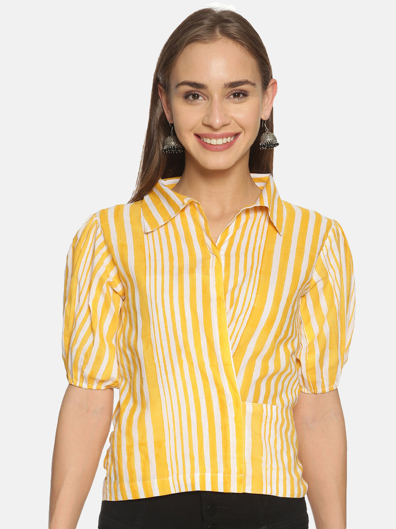 Yellow and White Stripes Hand Block Printed Cotton Cropped Wrap Around Shirt with Puffed Sleeves