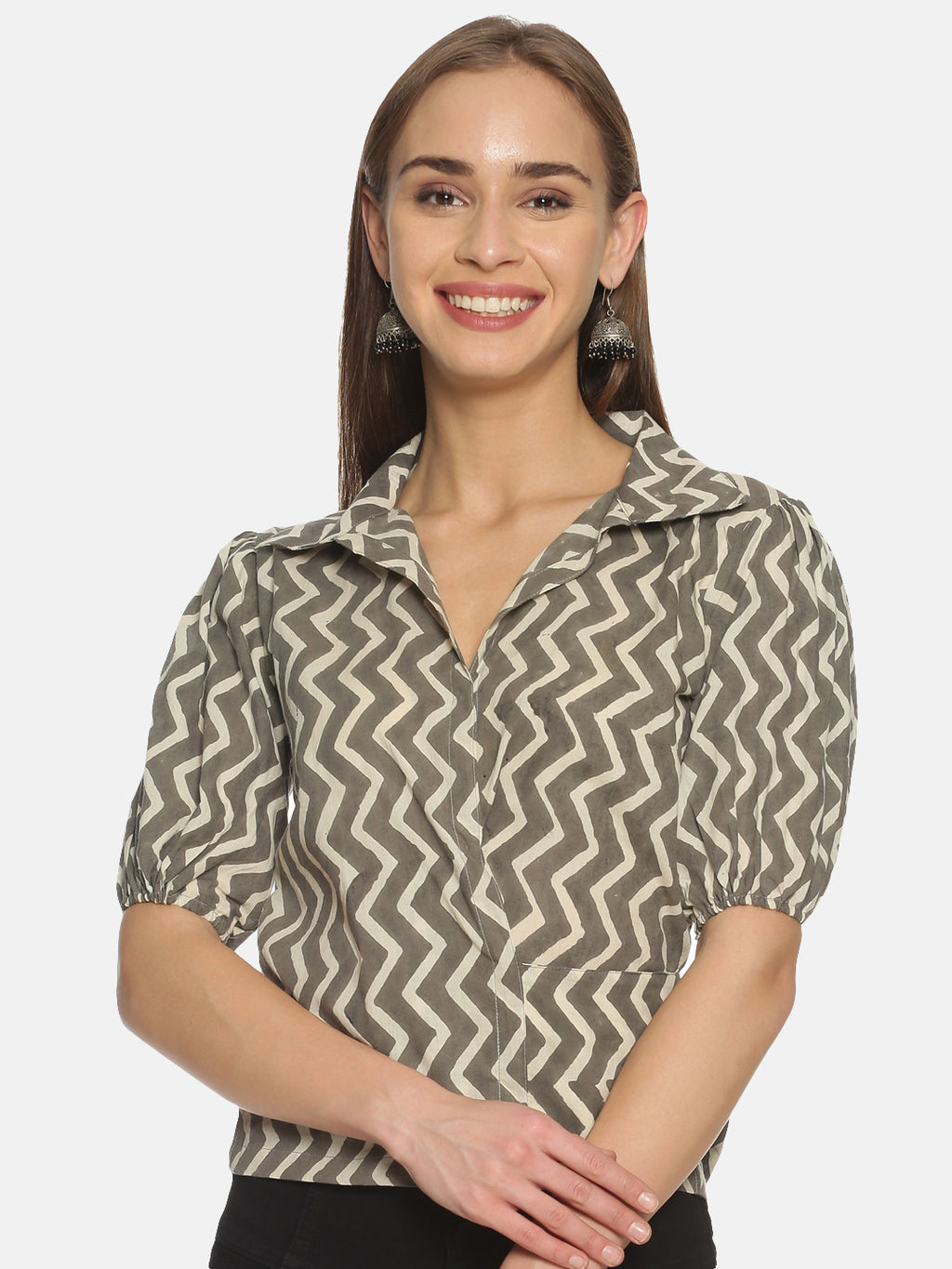 Grey and White Chevron Hand Block Printed Cotton Cropped Wrap Around Shirt with Puffed Sleeves