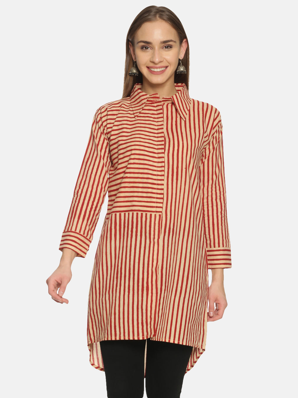 Red and Beige Striped Hand Block Printed Cotton Over-Sized Long Shirt