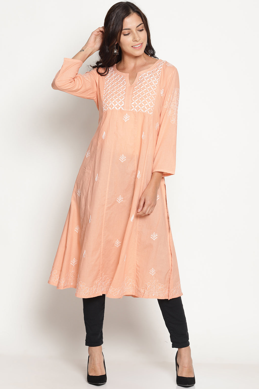 Peach Pure Cotton Hand Embroidered Chikankari A-line Kurta