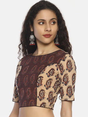 Beige and Light Brown Ajrakh Hand Block Printed Pure Cotton Blouse