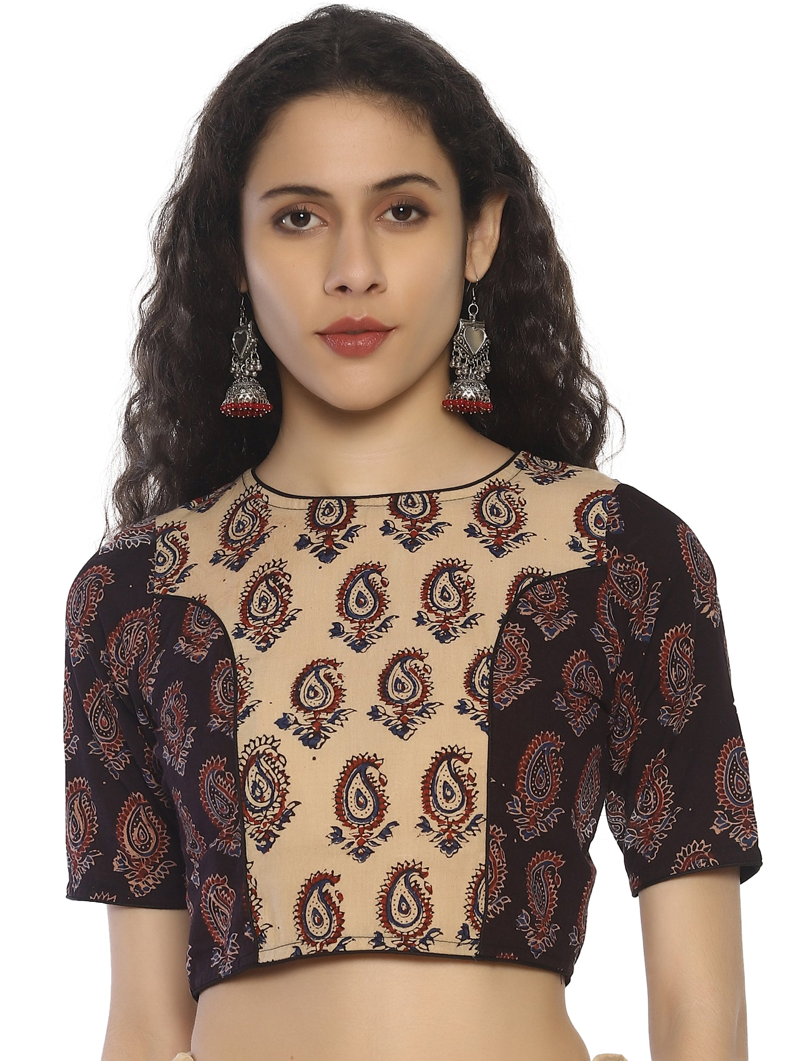 Beige and Dark Brown Ajrakh Hand Block Printed Pure Cotton Blouse
