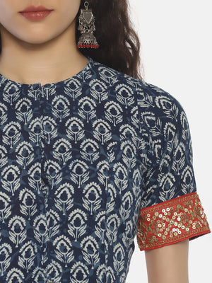 Indigo Bagru Hand Block Printed Pure Cotton Blouse with Red Sequins Border