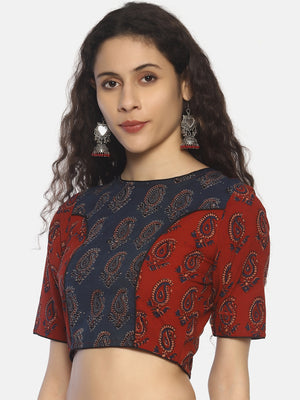 Indigo and Red Ajrakh Hand Block Printed Pure Cotton Blouse