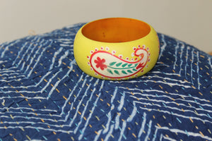 Yellow Hand Painted Wooden Kada with Paisley Design