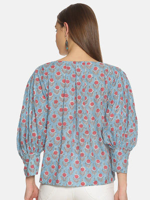 Sky Blue Hand Block Printed Cotton Relaxed Top with Puffed Sleeves