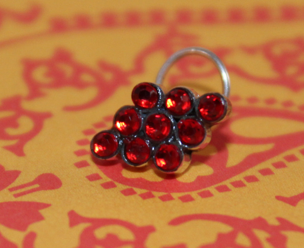 Red Stones Nose Pin