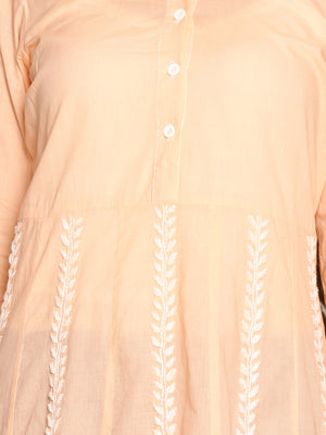 Peach Pure Cotton Chikankari A-line Kurta