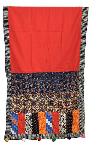 Black and Red Vegetable Dyes Hand Block Printed Pure Cotton Ajrakh Patchwork Dress Material