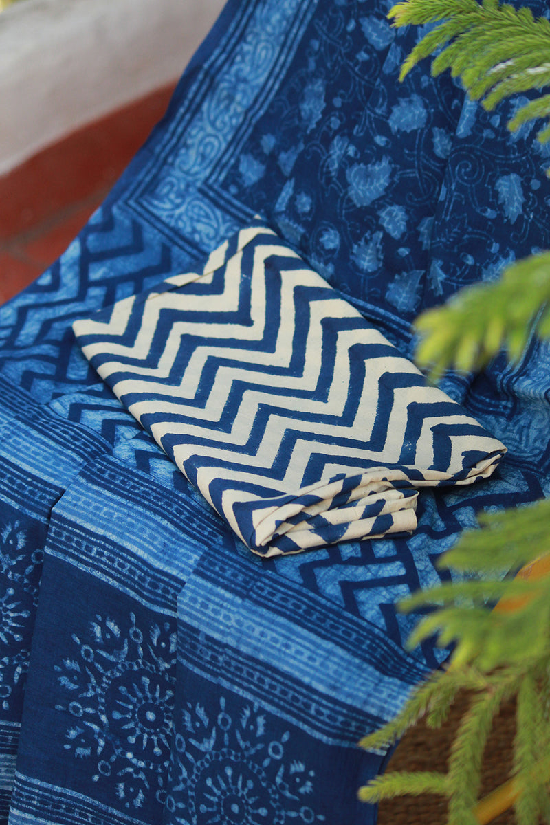 Indigo Akola Hand Block Printed Mul Cotton Saree with Blouse Piece