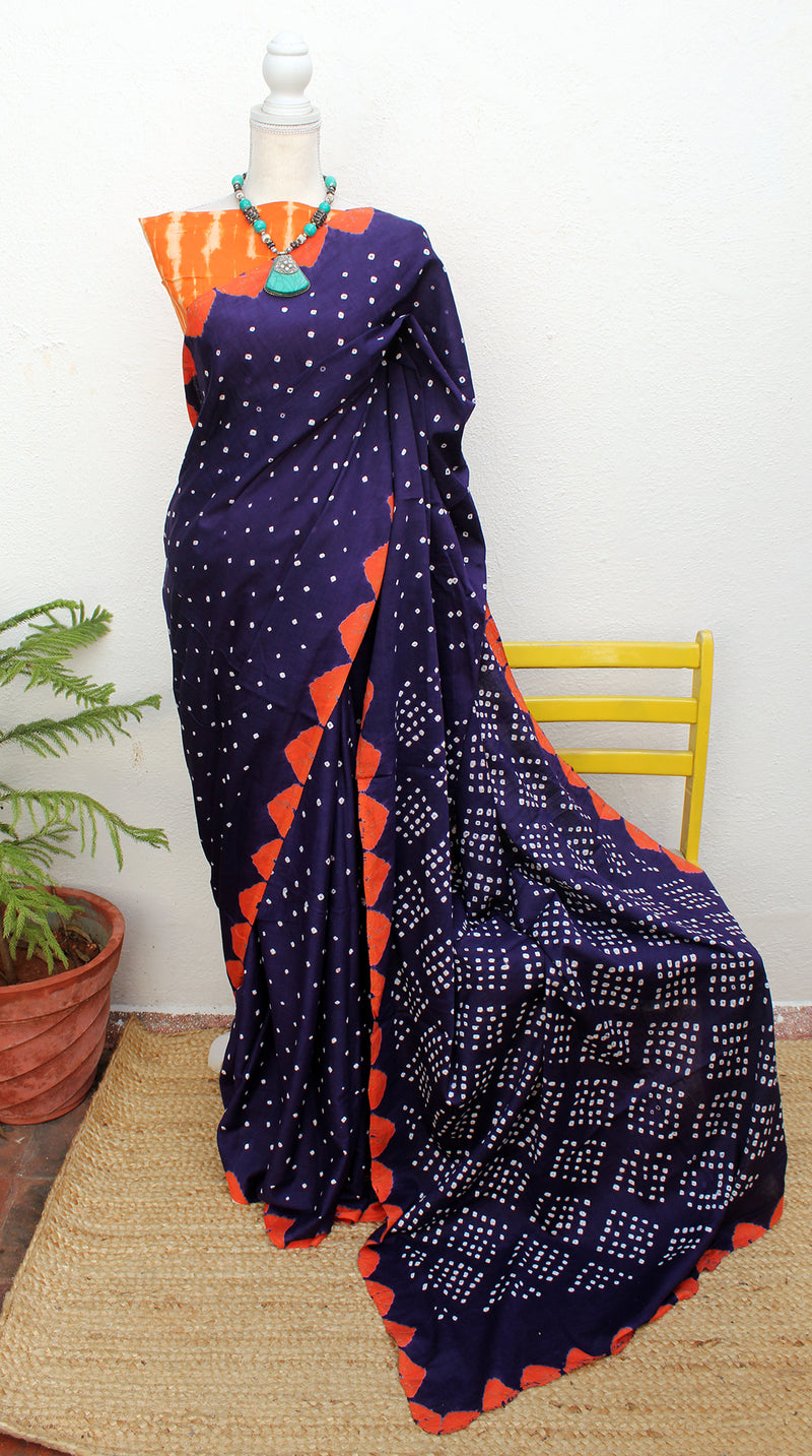 Blue and Orange Handcrafted Tie and Dye Bandhej Pure Cotton Saree