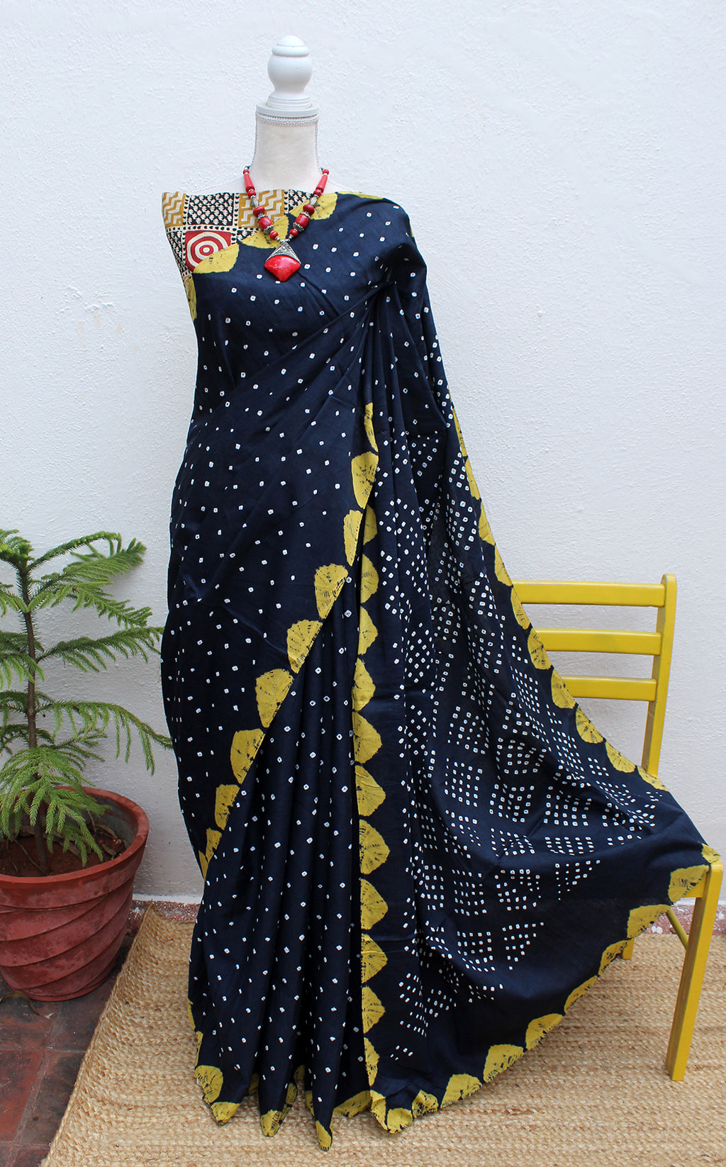 Navy Blue and Yellow Handcrafted Tie and Dye Bandhej Pure Cotton Saree