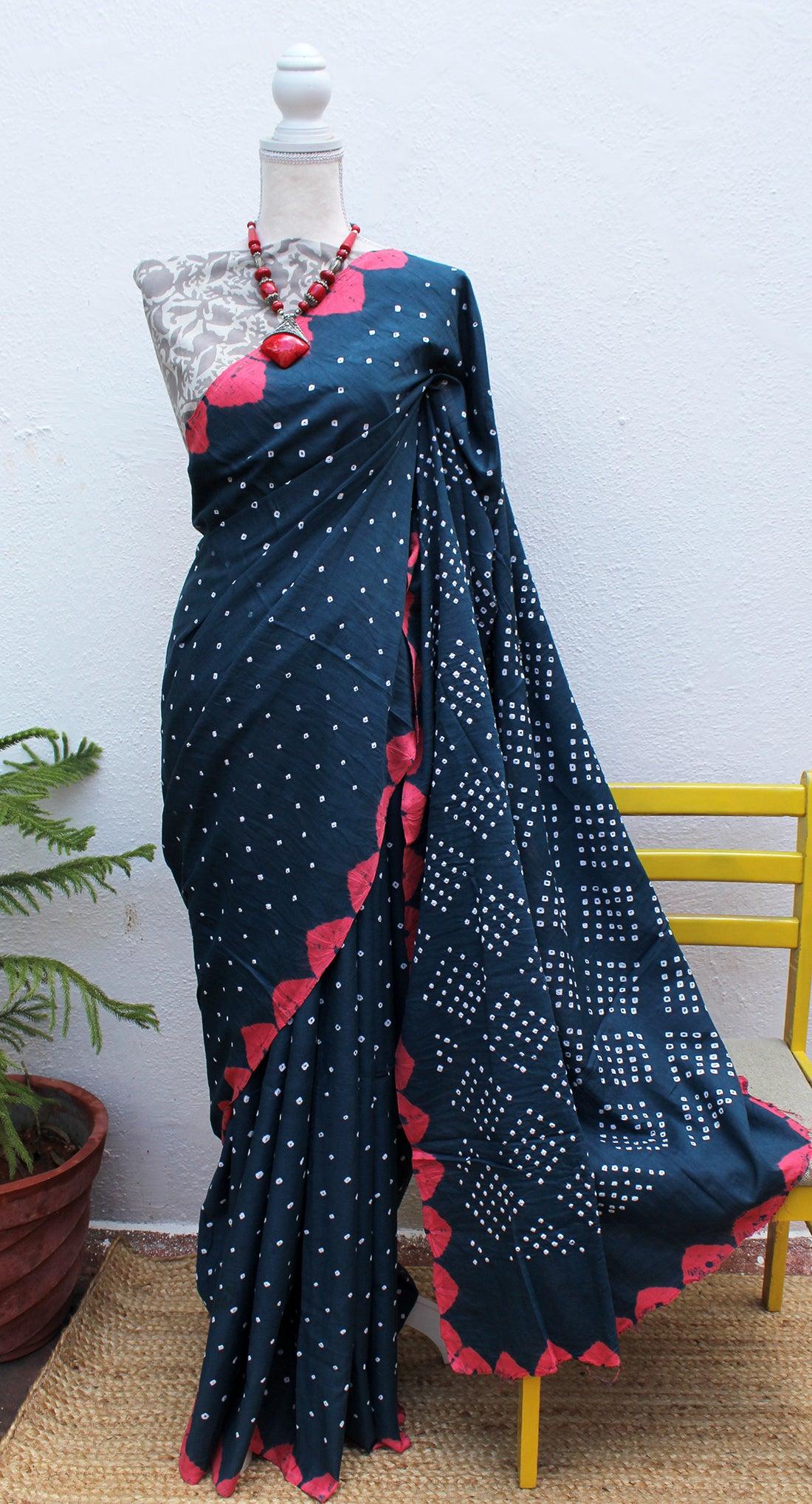 Blue and Pink Handcrafted Tie and Dye Bandhej Pure Cotton Saree