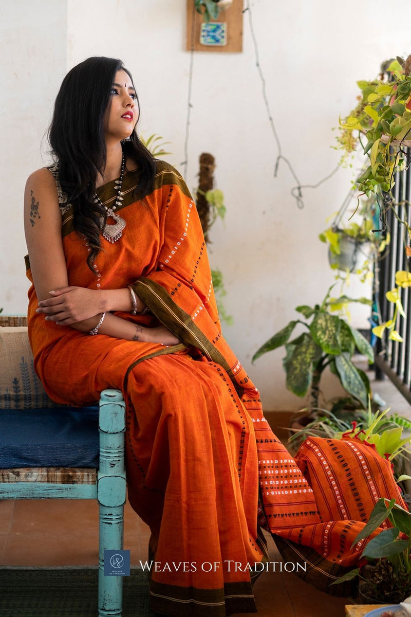 Orange and Red Dual Toned Begumpuri Handloom Cotton Saree