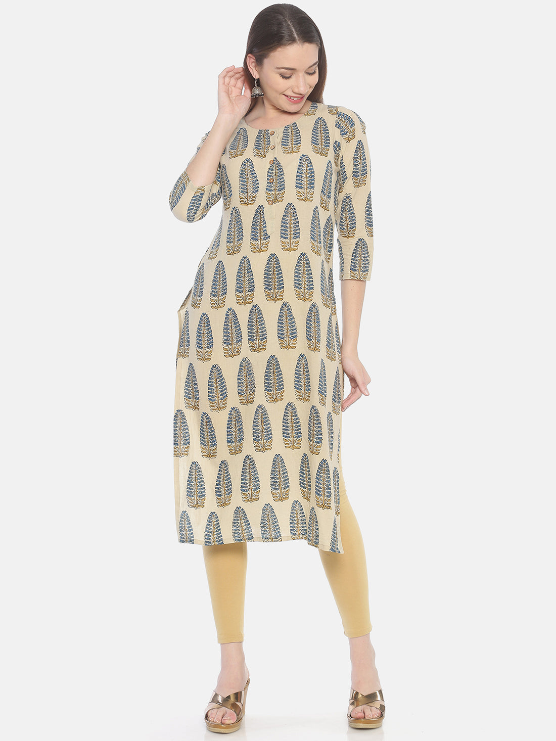 Beige Ajrakh Hand Block Printed Naturally Dyed Pure Cotton Kurti