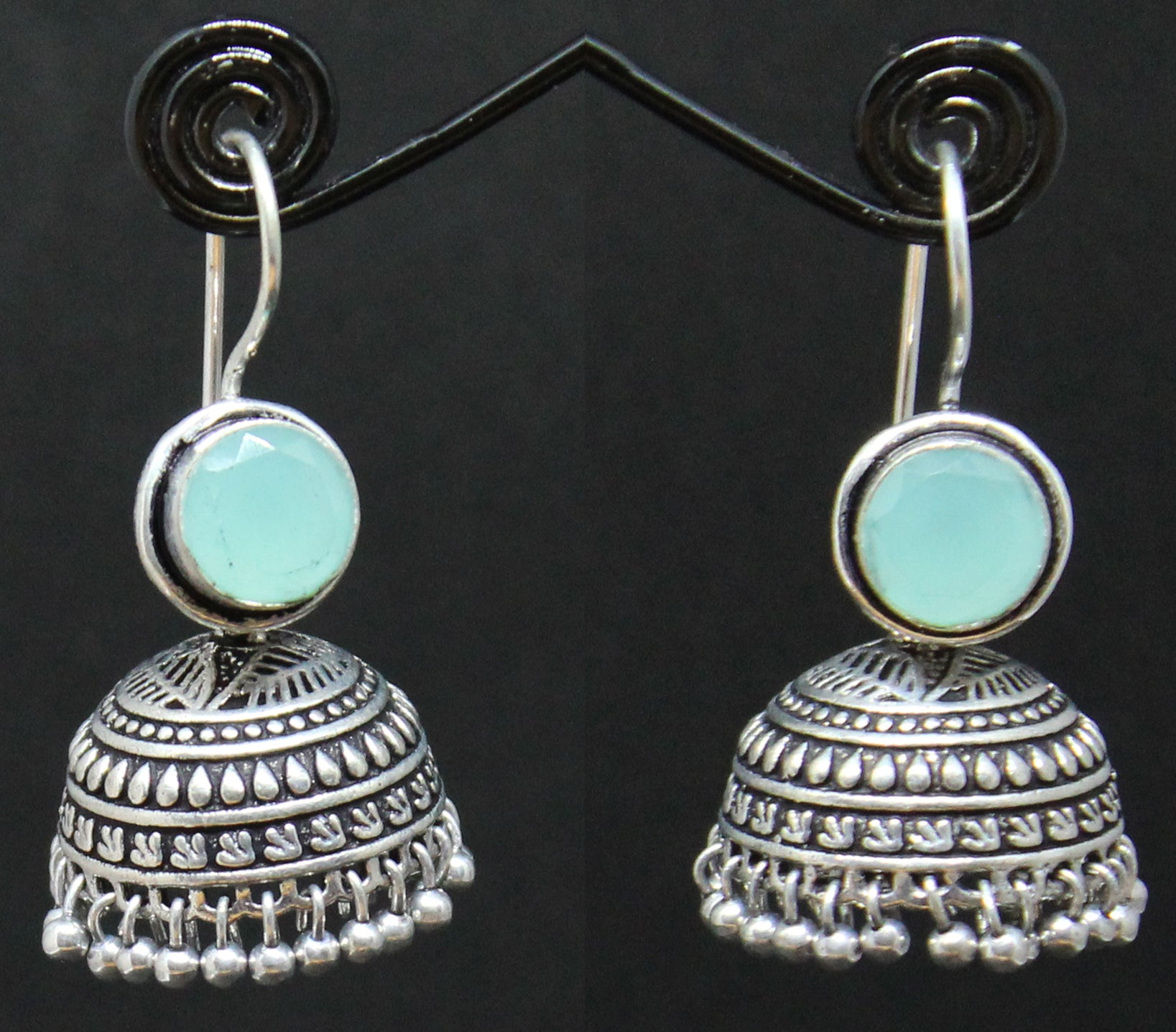 Light Blue German Silver Jhumki