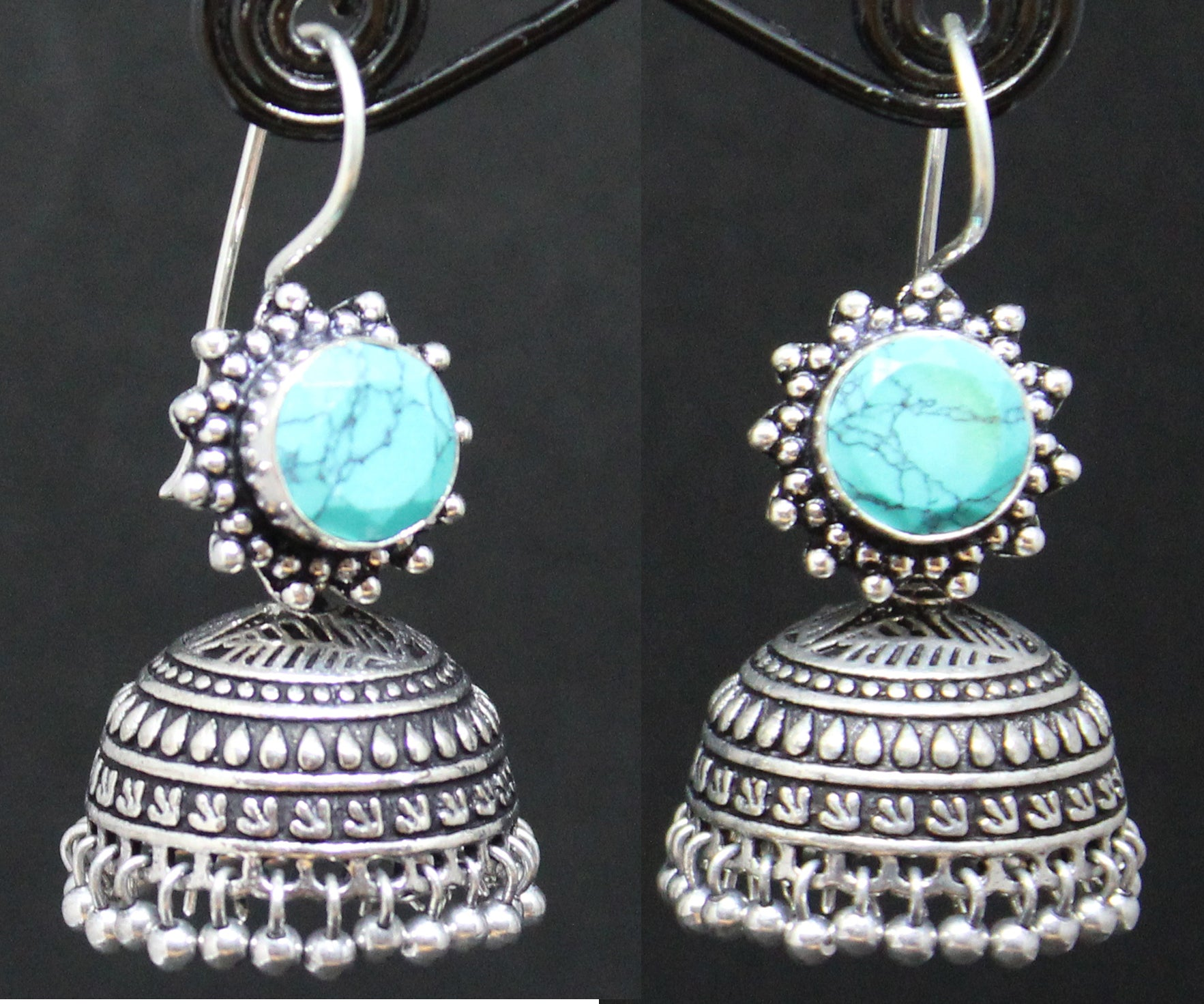 Turquoise German Silver Jhumki with Flower Design