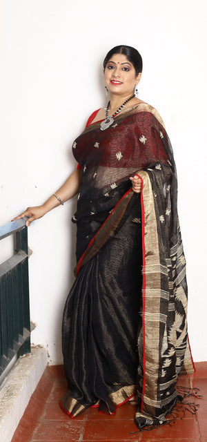 Black Linen and Gold Zari Gicha Jamdani Handloom Saree with Hand Block Printed Chanderi Handloom Blouse Piece
