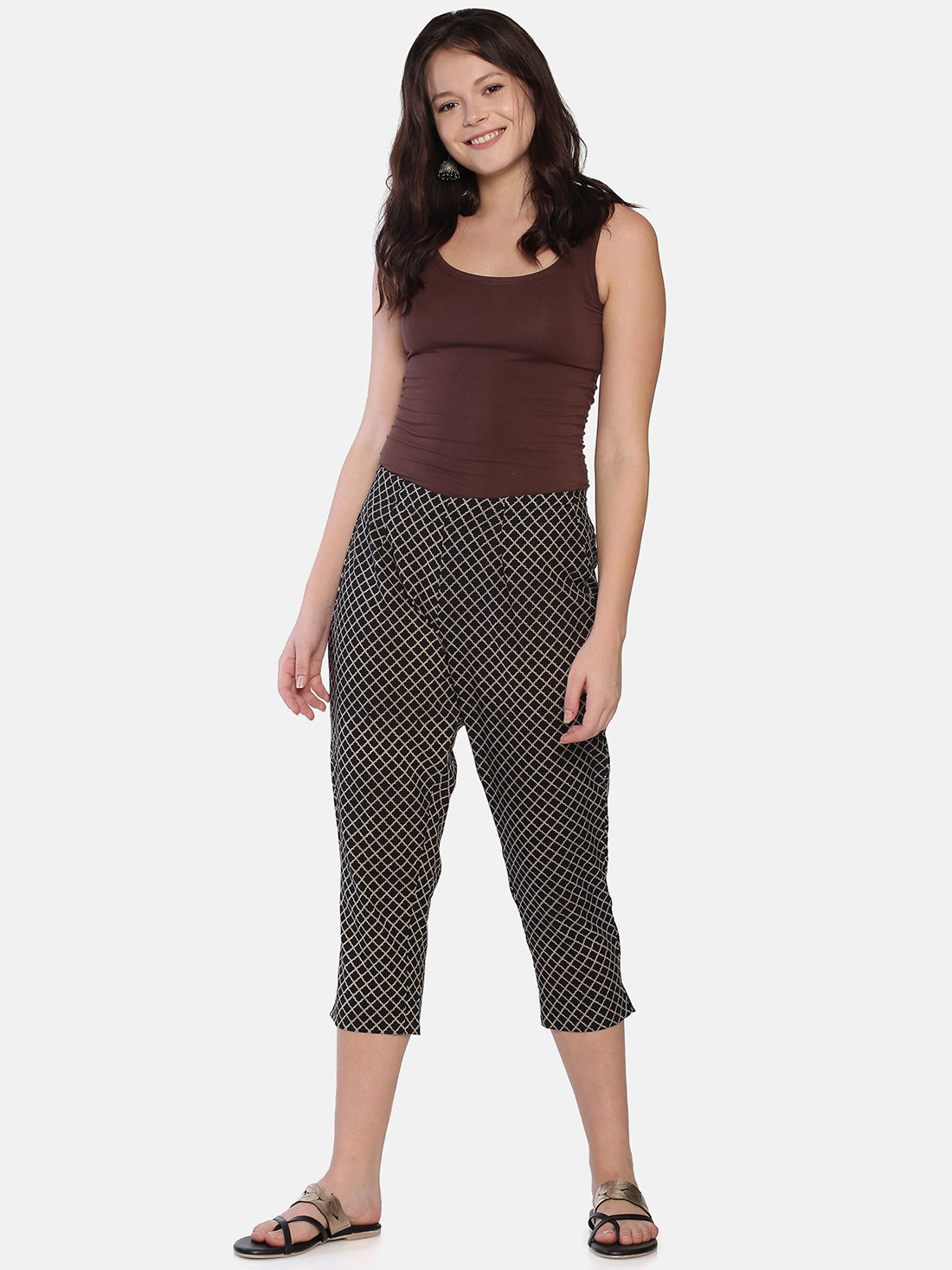 Black Naturally Dyed Cotton Hand Block Printed Cropped Cigarette Pants