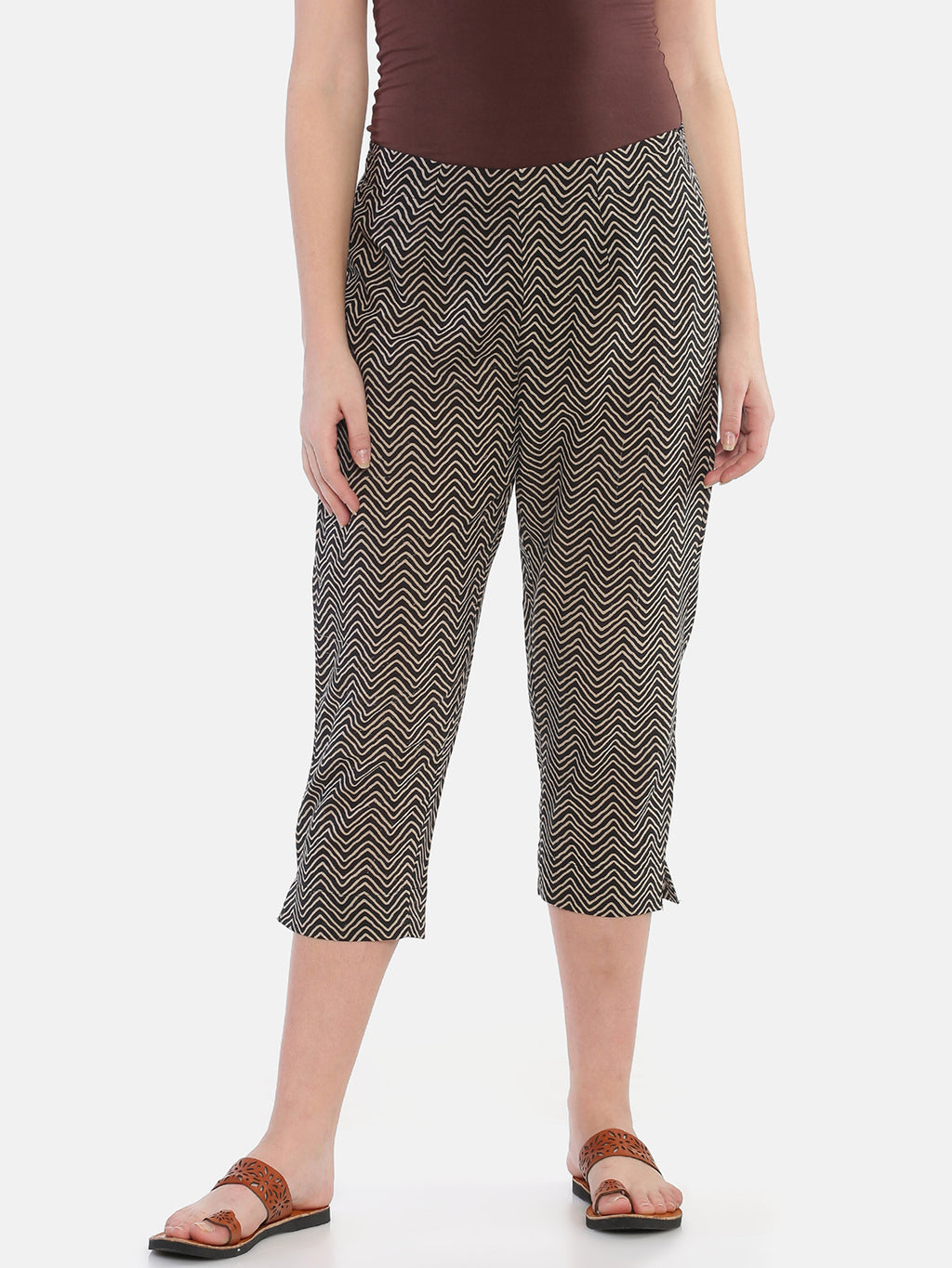 Black Naturally Dyed Cotton Chevron Hand Block Printed Cropped Cigarette Pants