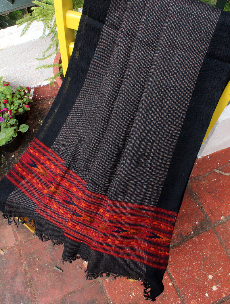 Grey and Black Handloom Kinnauri Woollen Shawl