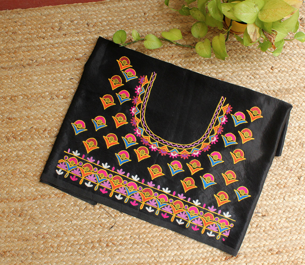 Black Mashru Silk Kutchi Hand Embroidered Blouse Piece
