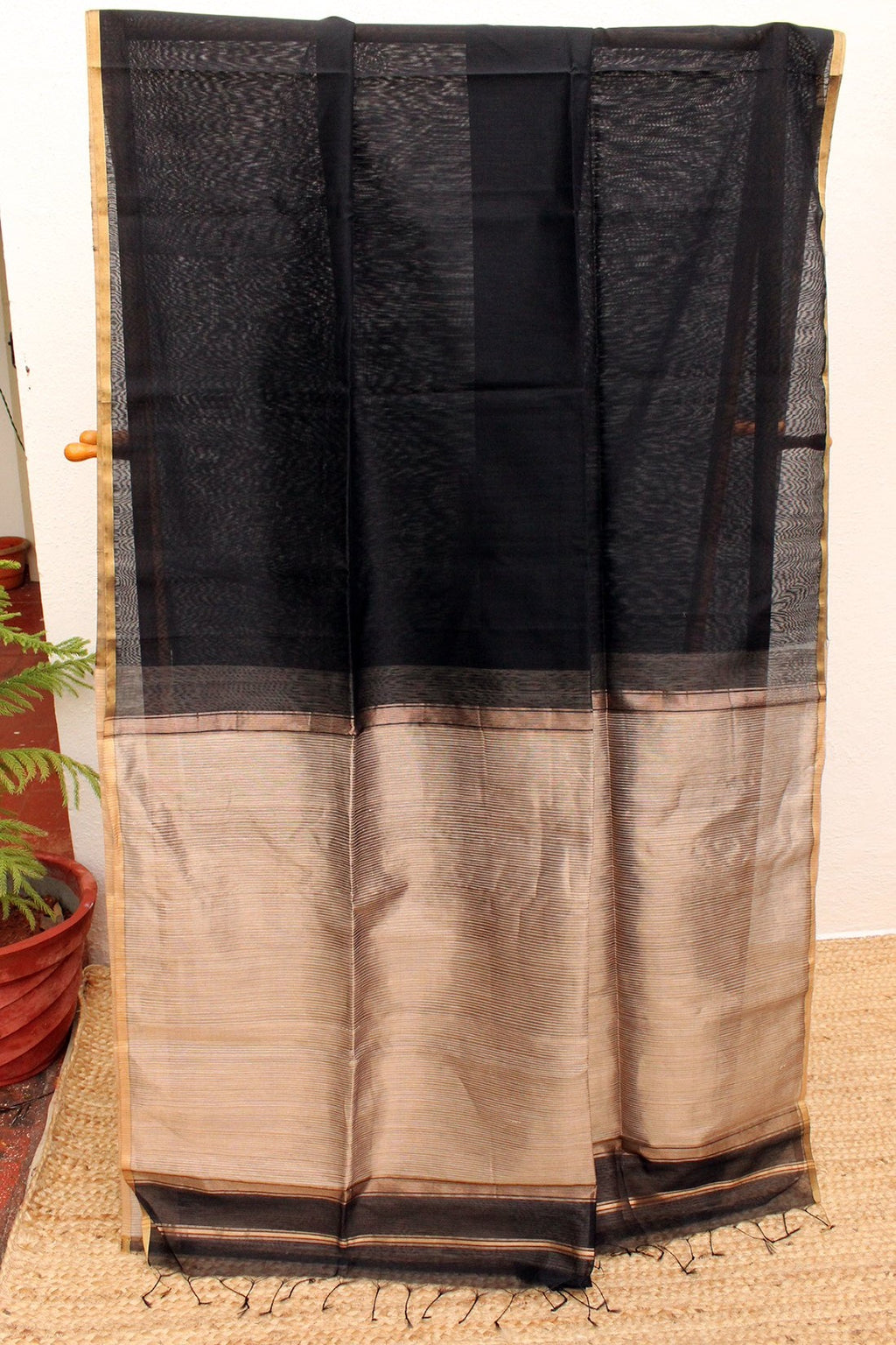 Black Chanderi Cotton Silk Handloom Saree with Golden Zari and Gicha Pallu