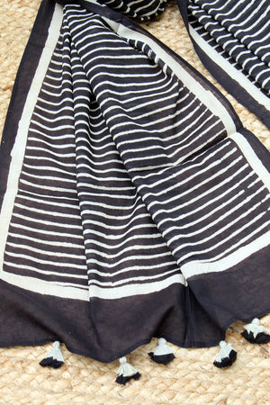 Black Naturally Dyed Hand Block Printed Stripes Mul Cotton Stole